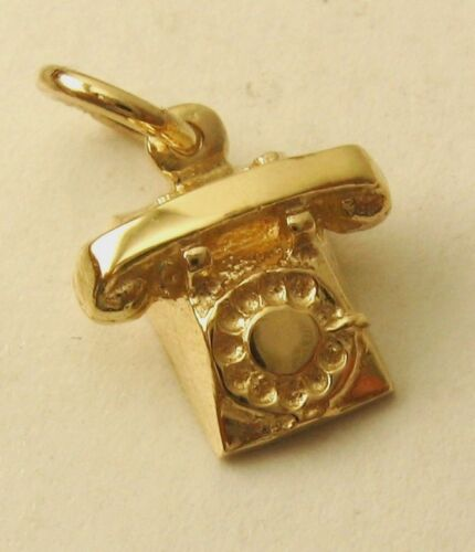 GENUINE SOLID 9K  9ct YELLOW GOLD VINTAGE TELEPHONE PHONE CHARM PENDANT