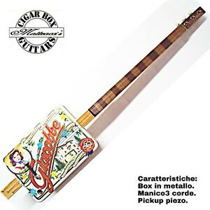 Cigar Box Guitar Giacobbe , 3 Corde, Pick-up Piezoelettrico Tastiera Slide.