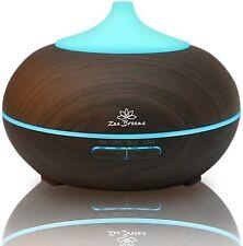 Zen Breeze Aromatherapy Essential Oil Diffuser -  LED lights, Dark Wood Grain