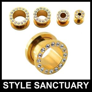 Gold-Surgical-Steel-Flesh-Tunnel-Ear-Plug-Crystals-Screw-Fit-Front-Rhinestones
