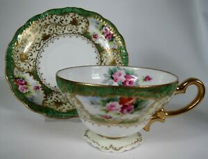 Lovely-Vintage-Cup-and-Saucer-Chubu-China-1998-Occupied-Japan-Roses-Green-Gold