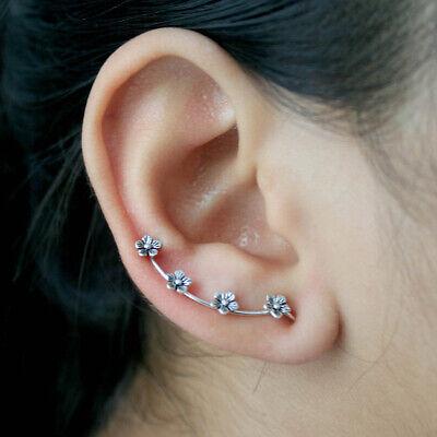 925 Sterling Silver Leaf Ear Crawlers Pins Sweep Up Earrings