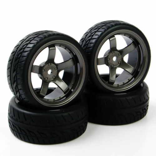 4X RC 12mm Hex Tires/&Wheel Rim For HPI HSP 1:10 Flat Racing On Road Car