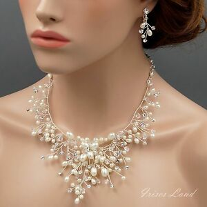 Pearl-Crystal-Necklace-Earrings-Bridal-Wedding-Jewelry-Set-Silver-01796-Clip-on