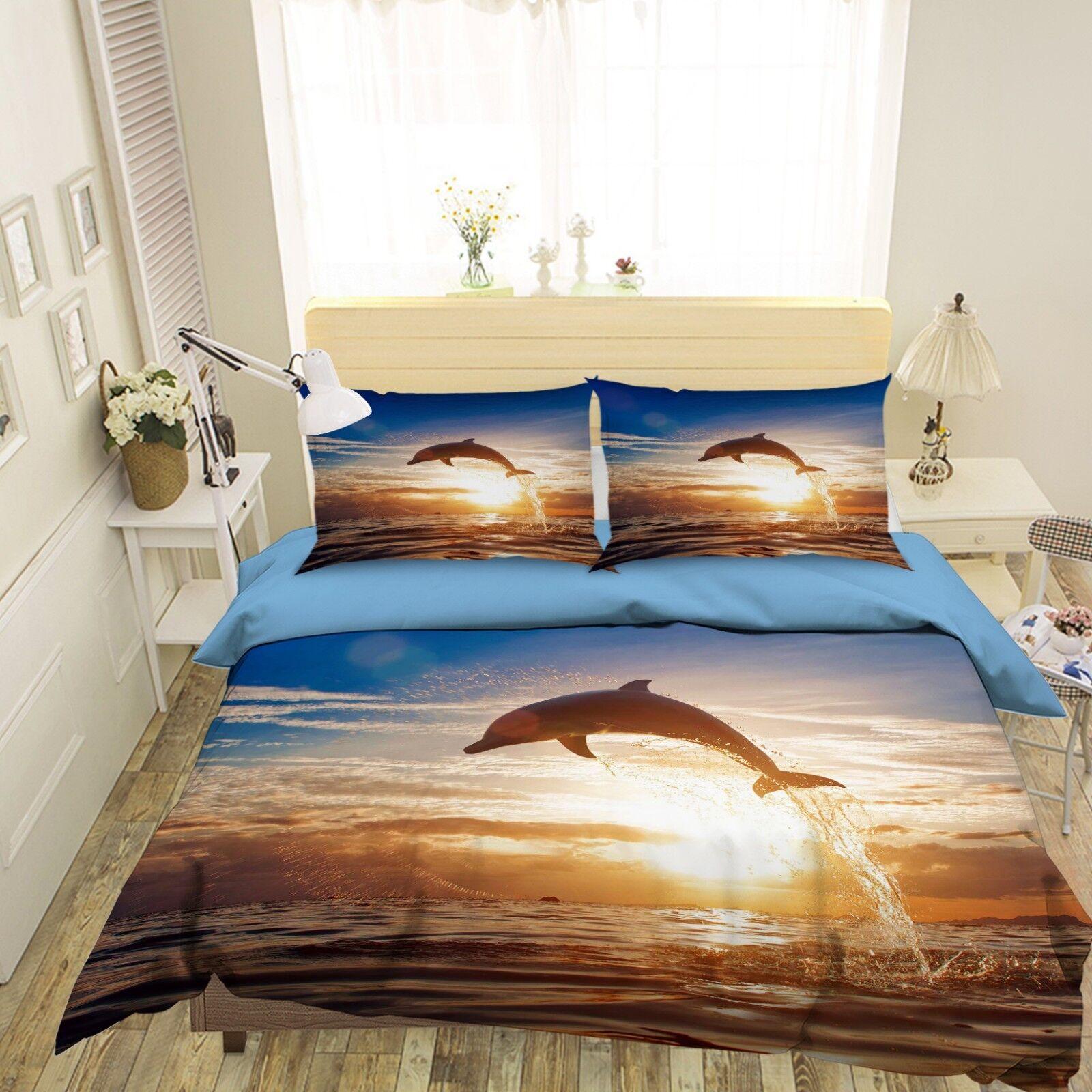 3d Delphin Sonnenuntergang 41 Bett Kissenbezüge Steppen Duvet Decken Set Single Möbel & Wohnen