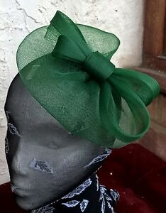 Image is loading dark-green-fascinator-millinery-burlesque-wedding-hat -ascot- 8bae0880221