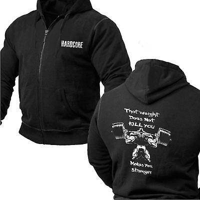 BODYBUILDING MMA GYM HOODY HARDCORE GYM CLOTHING HOODED SWEATSHIRT TOP JUMPER