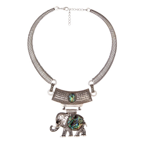 Bohème vintage Ethnic Tibetan Silver Boho Hibou éléphant Pendentif Collier Tour de cou