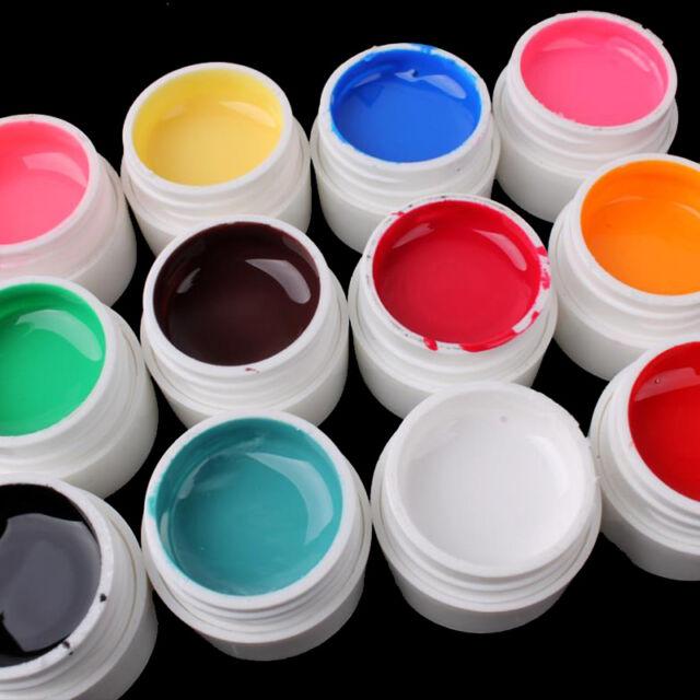 12 Pcs Pure Color Mix Nail Art UV Builder Gel Set for Acrylic False Tips FASHION