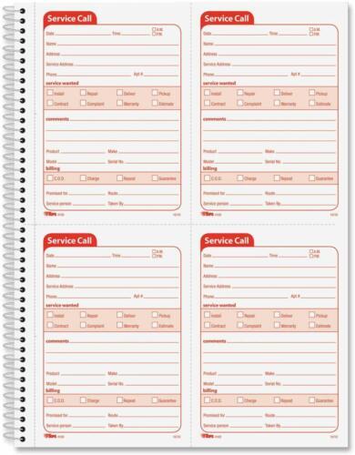2-Part 200Sets//Pk Top4100 Tops Service Call Book 11X8-1//4