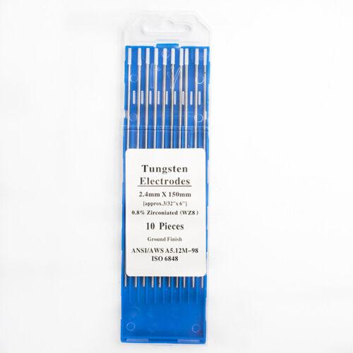 """TIG Welding Tungsten Rod Electrodes 0.8/% Zirconiated 1.0-3.2 x 6"""" White WZ8 10PK"""