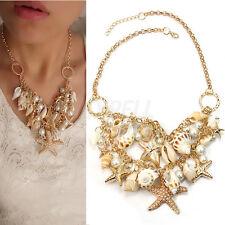 Collana Collare Conchiglia Stelle Marine Perla Imitata Idea Regalo Donna Nuovo