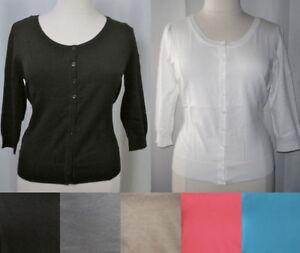 NEW-Plus-Size-3-4-Sleeve-Button-Cardigan-Sweater-Cotton-Blend-L-XL-1X-2X-3X