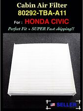 FOR HONDA CIVIC CABIN AIR FILTER 2016 AND UP 80292-tba-a11 Fast Ship!!