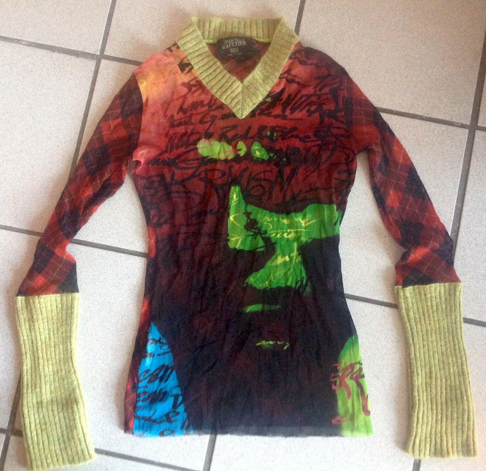 Jean Paul Gaultier Shirt Schottenmuster rot Mesh m. Wolle Grün Gr. XL wie NEU