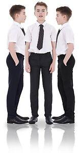 Boys-ex-BHS-Slim-Fit-Skinny-Grey-Adjustable-Waist-Black-School-Trousers