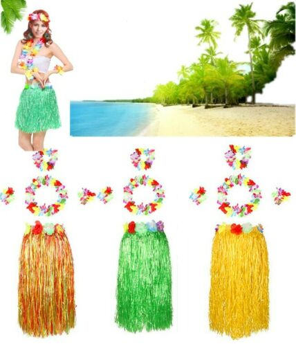 5pcs Hula Hawaiian Fancy Dress Set Lei Wristbands Headband Skirt Party Costume