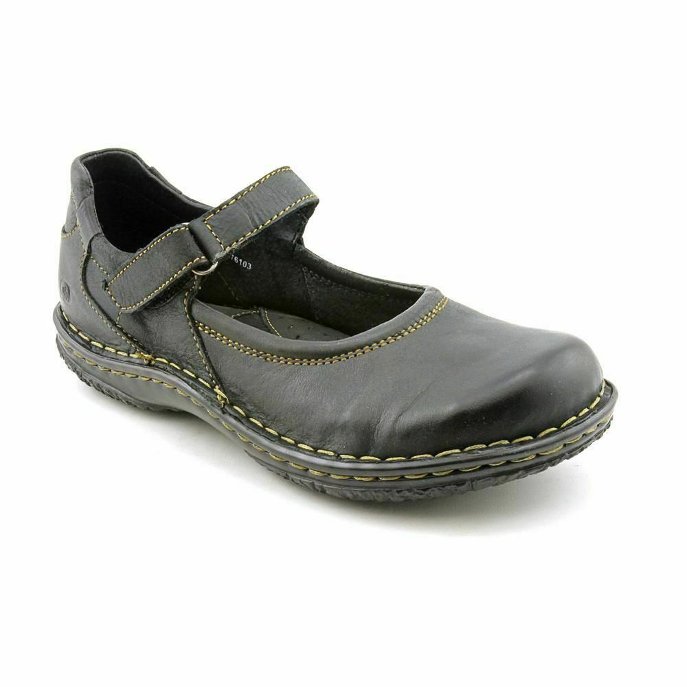 Born Steph Womens Black Leather Mary Janes Flats shoes 6 M W
