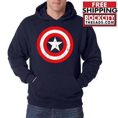 CAPTAIN AMERICA HOODIE Marvel Hooded Sweatshirt Star Shield Mens Comic Avengers
