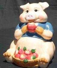 Rare Vintage Cookie Jar Pig with Basket of Apples