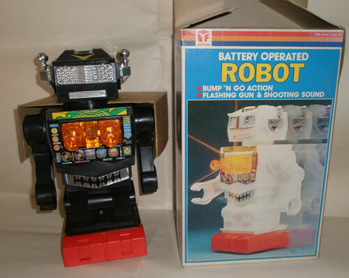 Vintage Besford Battery Operated Bump 'N Go Robot 1970's.