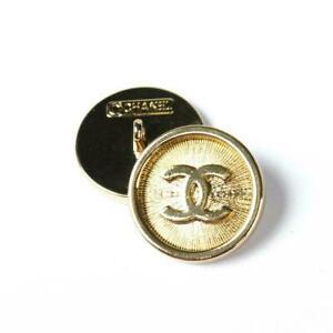 1One Stamped Chanel button 1 pieces   metal cc logo 0,8   inch 20 mm  light gold