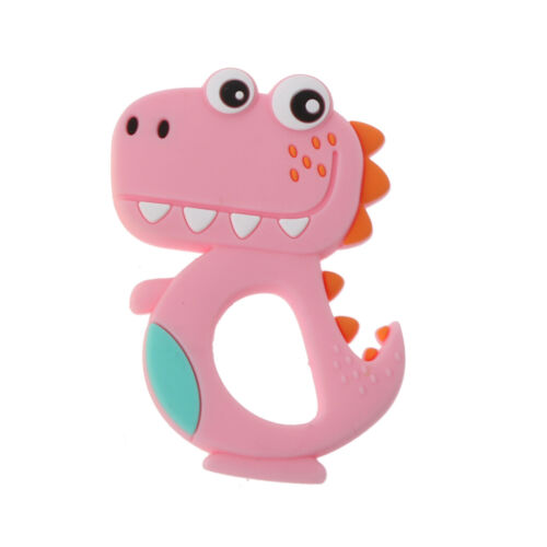 Silicone Animal Dinosaur Baby Teether Ring Infant DIY Chew Charms Teething Toys