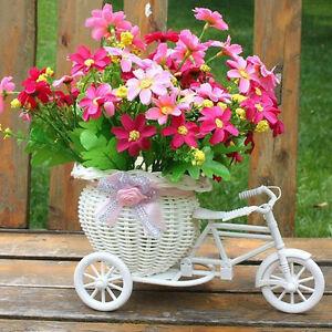 Rattan-Blume-Tricycle-Fahrradkorb-Handgemachte-Blumenvase-Speicher-Weiss-Hochzeit