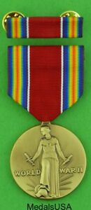 WWII-Victory-Medal-amp-Mounted-Ribbon-Bar-Full-size-USA-made-World-War-Two-WW2