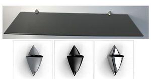10mm-Glasregal-Wandregal-schwarz-lackiertes-Glas-60cm-breit-Clip-ICEBERG-3Farben