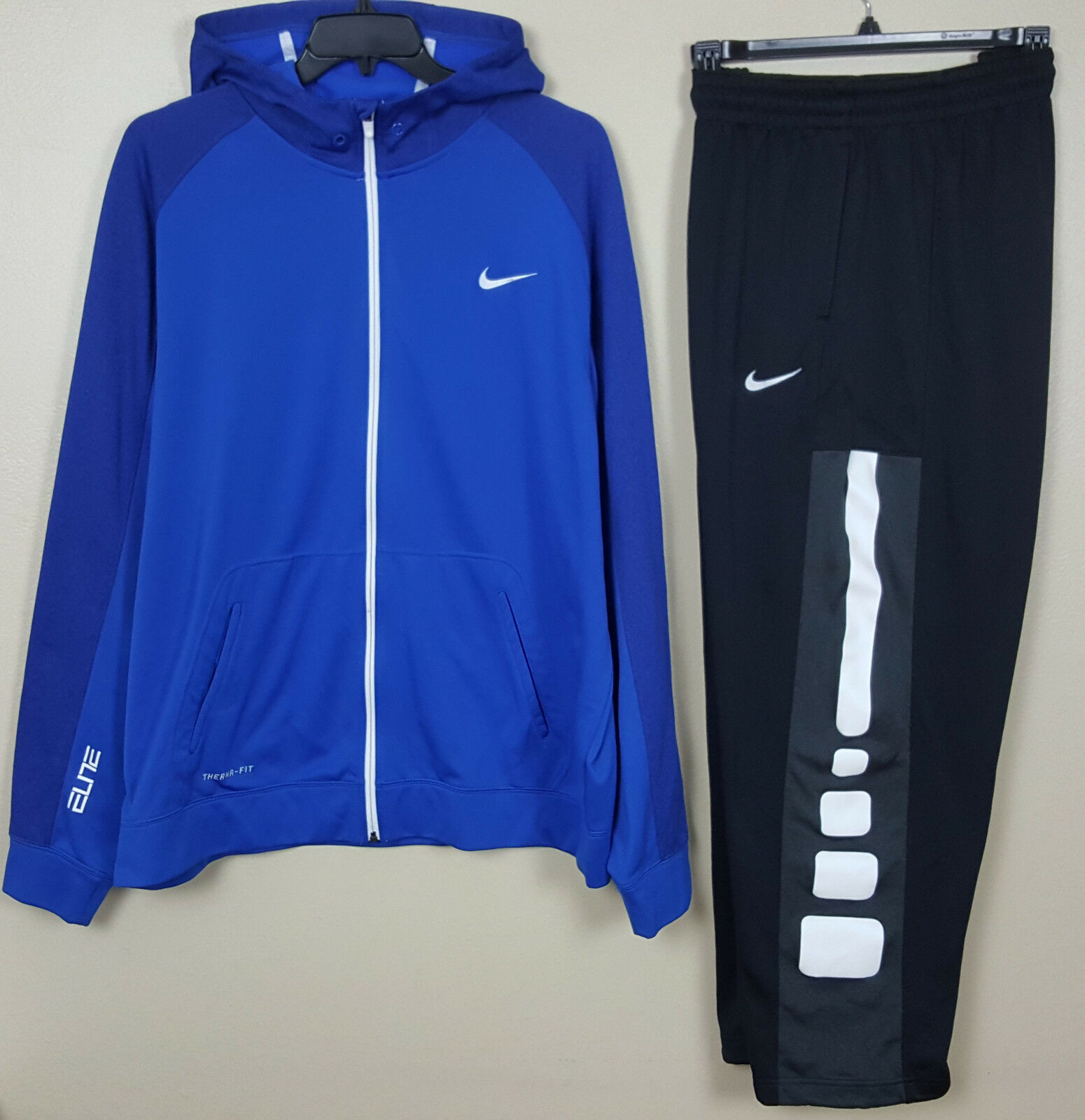 NIKE ELITE BASKETBALL SUIT HOODIE + PANTS ROYAL blueE BLACK WHITE RARE (SIZE 3XL)