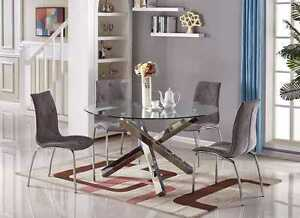 quality design df043 90f6c Details about VOGUE Large Round Circular Chrome Metal Clear Glass 6 Seater  Dining Table Only