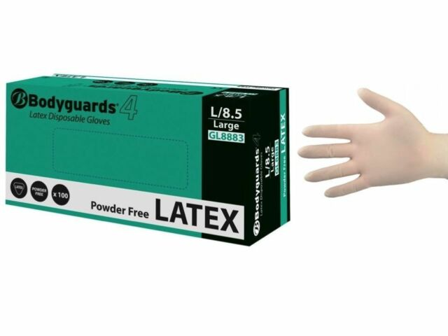 Large GL888 100 x Bodyguards/® 4 Latex Powder free Disposable Gloves Size