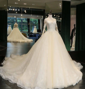 Princess-White-Wedding-Dresses-Ivory-Bridal-Gowns-Long-Sleeves-Lace-Appliques