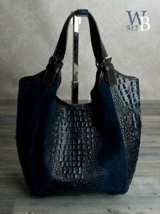 Ital-XL-Shopper-Beutel-Schulter-Tasche-echt-Leder-Krokooptik-dunkel-Blau-675DBL