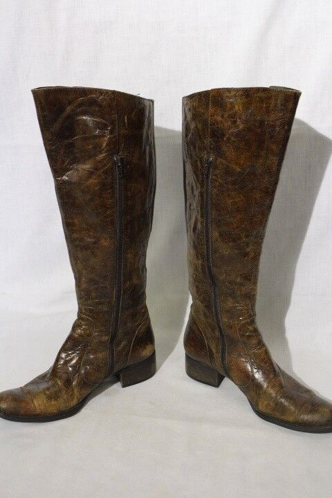 BORN CROWN Brown Round Toe CRACKLED Leather Knee High Boots,Womens Size9M (43)