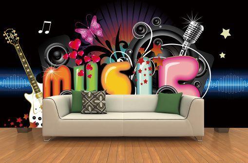 3D musica 123 Parete Murale Carta da parati immagine sfondo muro stampa