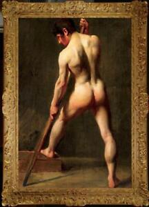 """Old Master-Art Antique Oil Painting Portrait man male nude on canvas 24""""x36"""""""