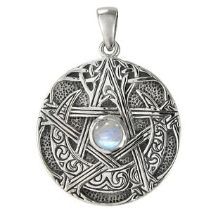 Vintage Sterling Silver Gray Moonstone Pendant Witch Goddess