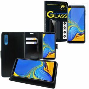 Etui-Housse-Portefeuille-Cuir-PU-Samsung-Galaxy-A7-2018-6-0-034-avec-Verre-Trempe