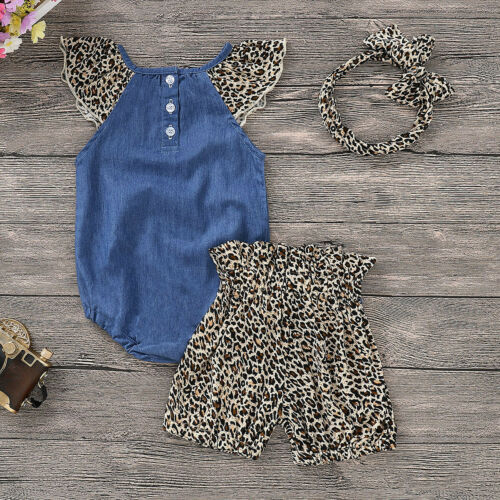 UK Newborn Baby Girls Leopard Romper Tops Jumpsuit Shorts Pants Clothes Outfits