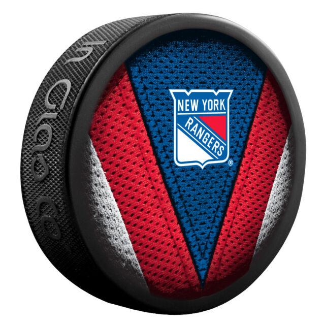 "NEW YORK RANGERS ""Stitch"" Series Team Logo Model SOUVENIR PUCK NEW In Glas Co"