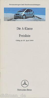 Mercedes A-klasse Preisliste 1999 19.4.99 23 S. Price List Prijslijst Prisliste Stabile Konstruktion
