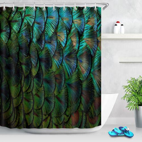 Dark Green Peacock Feather Fabric Shower Curtain Set Bathroom Rug Decor Hooks