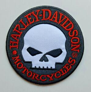 Harley-Davidson-Motorcycles-Patch-Aufnaher-Skull-Biker-Grose-9-5-cm-Durchmesser