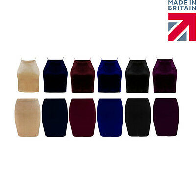 New Ladies Womans Stretch Bodycon Velvet Pencil Mini Party Skirt Size 8-14