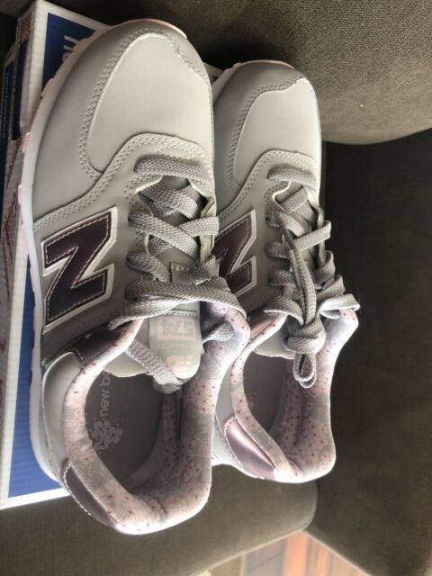 New Balance Girls 574 Pink Metallic/Grey Sneakers #KL584F1G SIZE 5.5 KIDS