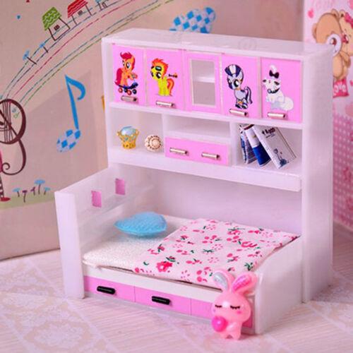 1/12 Miniature Children Kids Cabinet Bed Model Dollhouse Bedroom Furniture