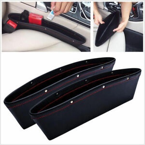2x-Leather-Car-iPocket-Box-Caddy-Seat-Gap-Slit-Pocket-Bag-Storage-Organizer-NEW