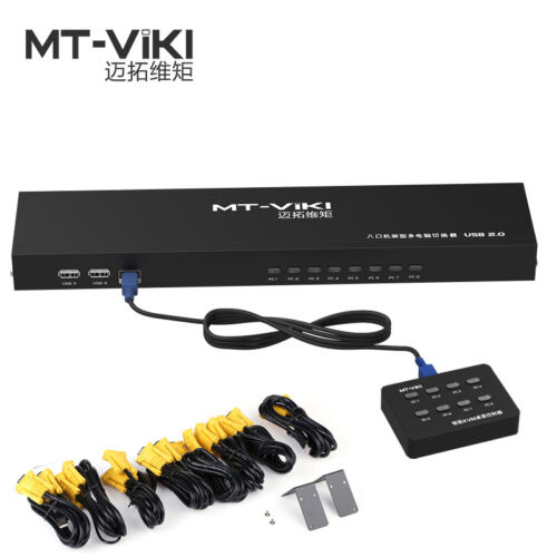 MT-VIKI 8 Port KVM Switch Manual Key Press VGA USB w// Wired Remote Switcher
